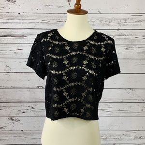 Forever 21 Black Lace Detail Crop Top
